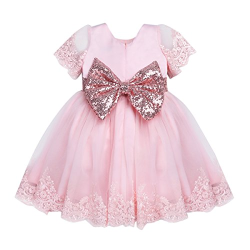 (Freebily Infant Baby Girls Bow Sash Sequined Embroidered Princess Flower Girl Dress Christening Baptism Party Formal Dress Pink 6-9 Months)