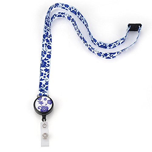 Grekywin White Lanyard Keychain, ID Badge Holder, Card Holder for Business Id/Key/Cell Phone