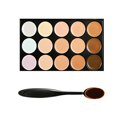 Boolavard Professional 15 Colour Concealer Camouflage Contour Eye Face Cream Makeup Palette with Cosmetics Oval Make up Brush (15 colours)