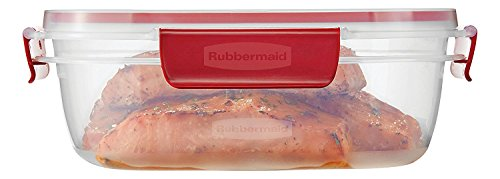 Rubbermaid Easy Find Lids Food Storage Container, Clear with Red Tabs