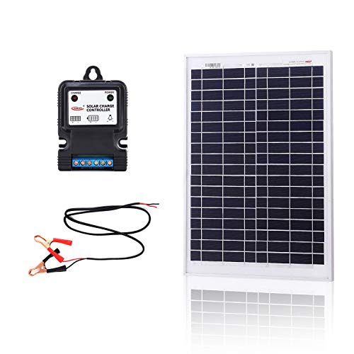 KOMAES 20 Watts 12Volts Polycrystalline Solar Panel, PV Solar Charger Includes 3Amp Solar Charge Controller, 3ft Crocodile Clip Cables Energy-efficient Technology (20W)