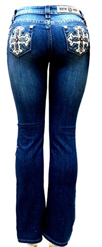 Jully-M Premium Sexy Women's Curvy Basic Bootcut Blue Denim Jeans Stretch Pants (13, Blue-u7026)