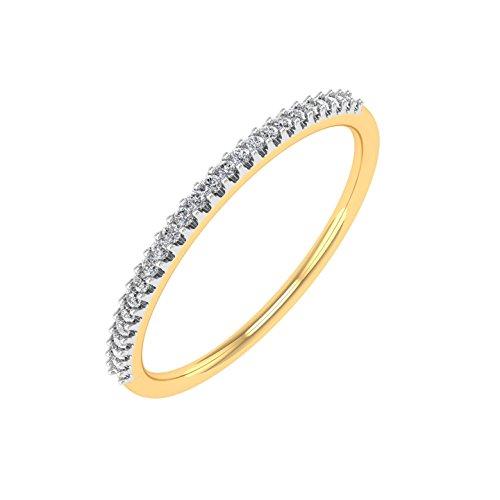 Band Round Diamond Anniversary (0.08 carat 10k Yellow Gold Round Diamond Ladies Anniversary/Wedding stackable Band Ring - IGI Certified)