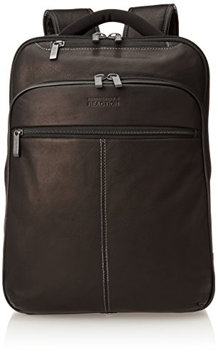 "Kenneth Cole Reaction Back-Stage Access Slim Colombian Leather TSA Checkpoint-Friendly 16"" Laptop & Tablet Travel Business Backpack, Black"