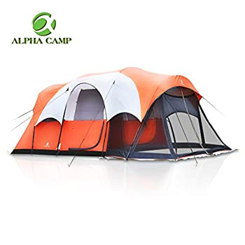 Image of ALPHA CAMP 6 Person 10 Person Family Camping Tent Screen Room Cabin Tent Design Tents