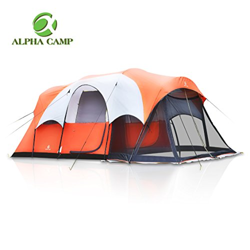 ALPHA CAMP 6 Person Family Tent with Screen Room Cabin Tent Design - 17' x 9' (Carlsbad 4 Person Dome Tent With Screen Room)