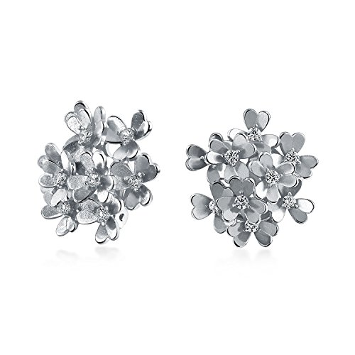 Bouquet Of Flower Shaped Cubic Zirconia CZ Clip On Earrings Button Style For Non Pierced Ears Matte Silver Plated Brass