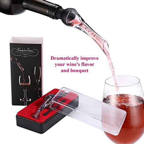 Wine Aerator Pourer - ELEPAWL Premium Aerating Pourer and Decanter Spout (Black)