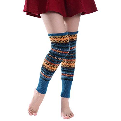 la Color camuflaje encima mujer para Bohemia Calcetines Alto Color rodilla Medias azul Acvip de por qz0x6Xw