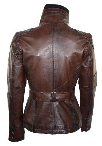 Avec Cuir Blouson Mao Coupe Militaire Marron Véritable Vintage Femme Aviatrix Col Rétro Slim Ceinture Style ZBxPqEgw