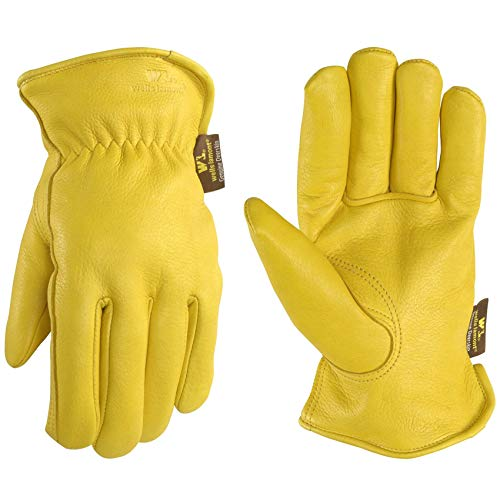 Men's Deerskin Winter Work Gloves,100-gram Thinsulate Insulation, Fleece-Lined, Large (Wells Lamont 963L)