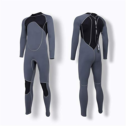 Men Full Body Neoprene Wetsuit Scuba Diving Wet Suit for Surfing Snorkeling Spearfishing Gray XXXL