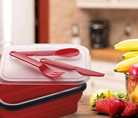 Alimentos de Silicona Juego Fiambrera Ni/ños Extensible con de Pesas Caja//Caja Comedor kukk portamerienda Ni/ños para la Escuela