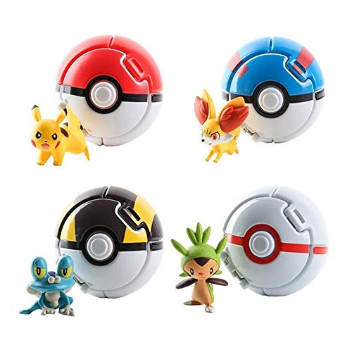 WENHSIN 4 Packs Ball Pokémon Master Action Figures Pop-Up Ball Pocket Monster Go Game Fans for Kids Toy -