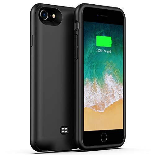 (U-good Battery Case for iPhone 7/8,Support Headphone, 3200mAh Ultra Slim Portable Protective Charging Case Compatible with iPhone 8/7 Rechargeable Extended Battery Charger Case(Black))