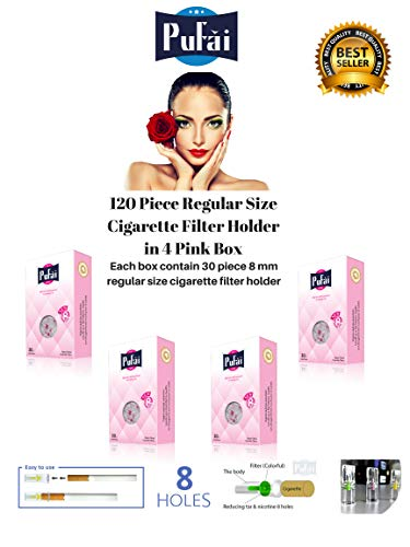 Cigarette Filters Holder. 120 Piece (4 Pink Box * 30 Filters) Disposable Regular Size [8 mm] Cigarette Filters Holder. New 8 Hole Strong Filtration System by Pufai