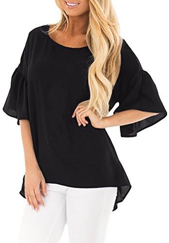 Women Loose Bell 3/4 Sleeve Ruffle Slim Fit Tshirts Summer Causal Swing Tunic Tops Black (Ruffle Tee Top)