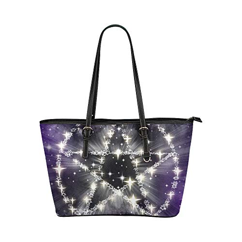 Halloween Witch Hand Craft (Travel Bags For Women Stars Pentagram Magic Witchcraft Halloween Leather Hand Totes Bag Causal Handbags Zipped Shoulder Organizer For Lady Girls Womens Zip Travel)