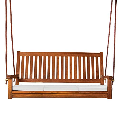 All Things Cedar TS50-W Teak Porch Swing with Cushions, White