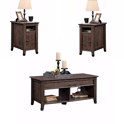 Home Square Rustic 3 Piece Coffee Table and End Table Sets in Oak Brown by Home Square