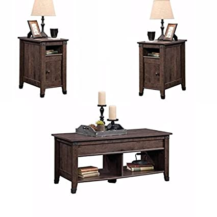 Coffee Table 3 Piece Sets.Home Square Rustic 3 Piece Coffee Table And End Table Sets In Oak Brown