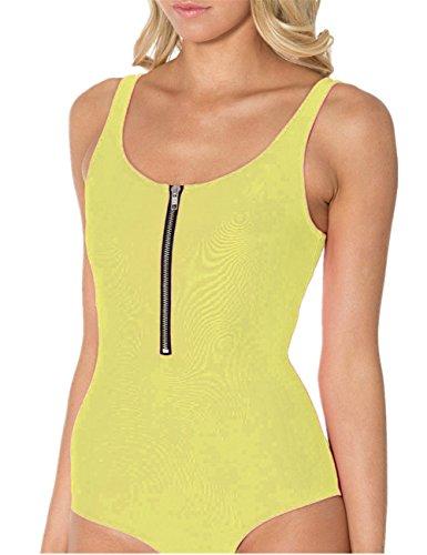 Aidonger traje de baño de cremallera una pieza sola sólida Bañadores monokini Amarillo