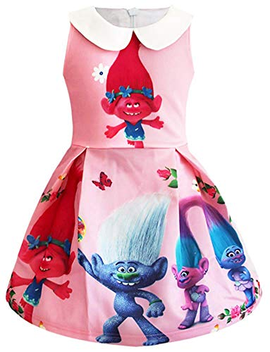 AOVCLKID Trolls Costume for Toddler Kids Party Princess Dress Little Girls Cartoon Dress Up (110/3-4Y, Pink)]()