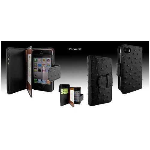 Piel Frama U600AVB Straussen Optik Wallet Ledertasche für Apple iPhone 5/5S schwarz