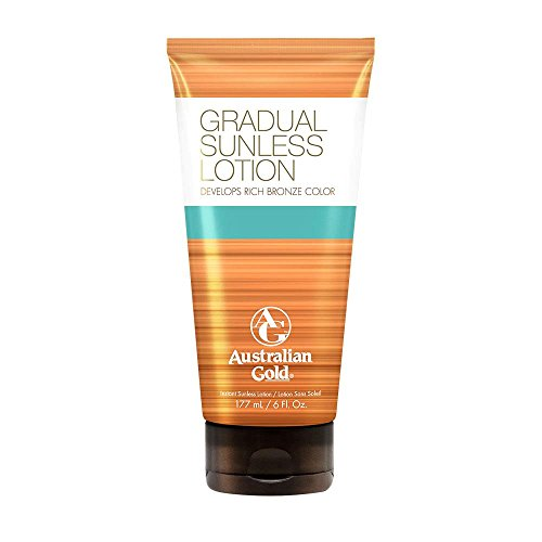 Bronze Gradual Self Tanning Lotion - Australian Gold Gradual Sunless Tanning Lotion, Rich Bronze Color with Fade Defy Technology, Energizes & Softens Skin, 6 Ounce