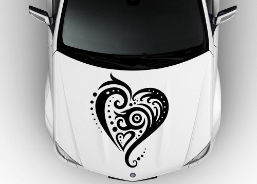 (Car Hood Vinyl Sticker Decal Tribal Heart Tattoo Love Design N600)
