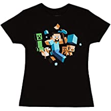 JINX Minecraft Glow-in-The-Dark Run Away Little Girls & Big Girls T-Shirt