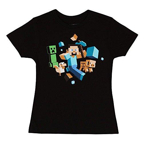 Minecraft Run Away Little Girls T-shirt - Black (Girls Small (4)) -