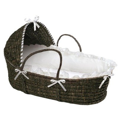 Moses Hooded Basket in White and Espresso Portable Baby - Natural Bassinet Badger