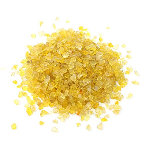 (Alan Stone High Luster Reflective Fire Glass Gravel,Fire Gems,Fire Drops,Fire Glass Pebbles Stones Beads Chips for Fire Pit Fish Tank Aquarium Garden,3-6mm 305g/0.67lb (Yellow))
