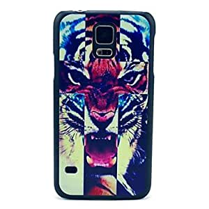 QYF Cross Ferocious Tiger Pattern Hard Case Cover for Samsung Galaxy S5 I9600