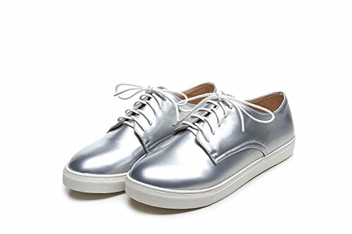 Silver Flats Heel Lace Patent Womens Casual Comfort Leather Carolbar Hidden up Sheos pwPOqzz7