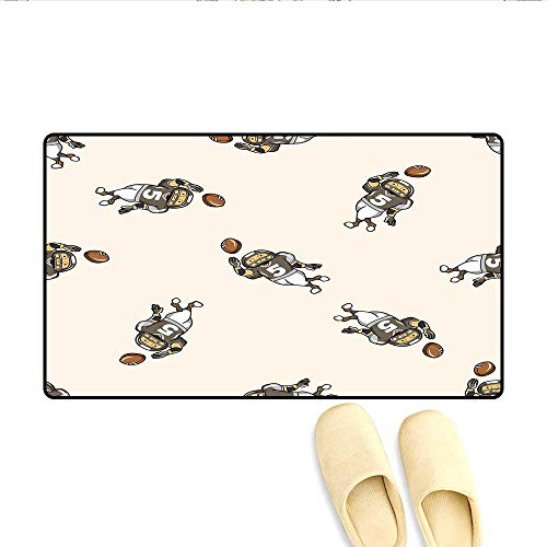 Door-mat Pattern of Cartoon Player Running with The Ball Training for The Game Rug Bathroom Mat for Tub Non Slip Taupe Brown White 32