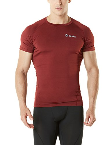 TM-R36-BR_X-Large TSLA Men's Thermal Wintergear Compression Baselayer Short Sleeve T Shirts R36 ()
