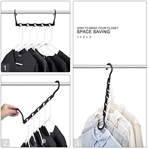 41qurd75IBL. AC HOUSE DAY Black Magic Hangers Space Saving Clothes Hangers Organizer Smart Closet Space Saver Pack of 10 with Sturdy Plastic for Heavy Clothes    Product Description