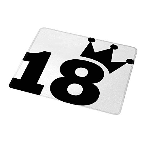 - Gaming Mouse Pad Custom 18th Birthday,Cartoon Soccer Jersey Seem Bold 18 Number Party Sports Playing Art Print,Black and White,Non-Slip Personalized Rectangle Mouse pad 9.8