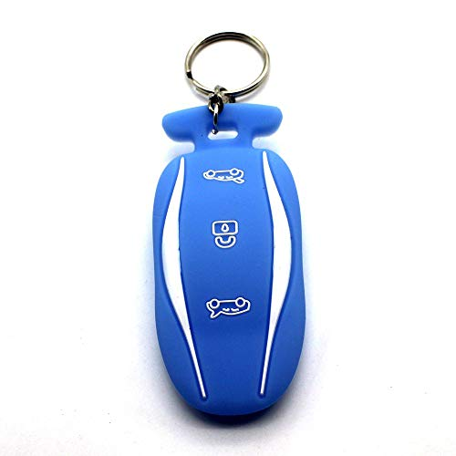 BBATECH Tesla Model S Car Key Cover Key Chain Silicone Keychain for Model S 60 75 100D (Blue)