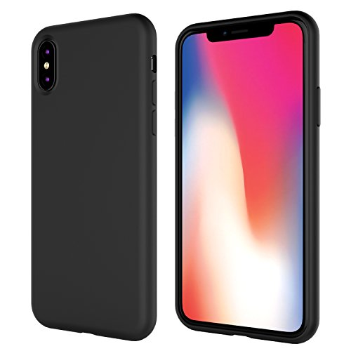 iPhone X Silicone Case,iPhone 10 Silicone Case,Full Body Drop Shockproof Protection Cover Matte Case Gel Rubber Silicone Phone Case with Soft Cushion for Apple iPhone X/iPhone 10(2017) 5.8 inch -Black