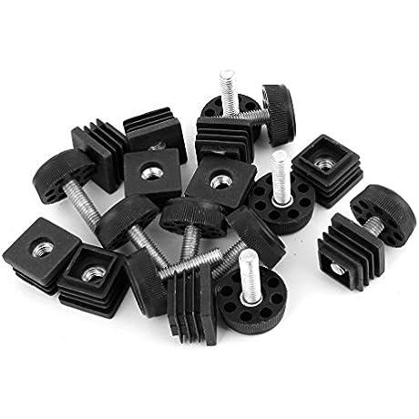 Square Adjustable Leveling Foot Cap Kit 25mmx25mm 30mm Base Dia 10Sets