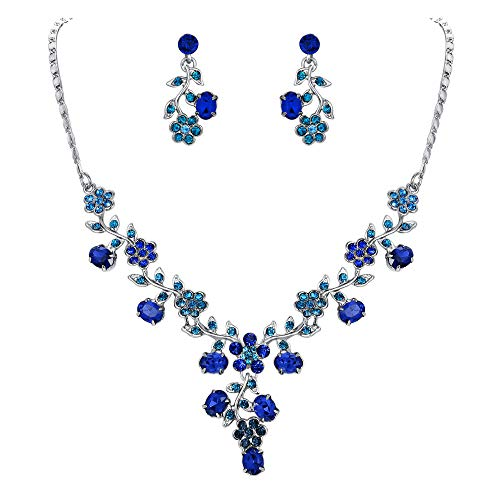 EVER FAITH Flower Leaf Necklace Earrings Set Austrian Crystal Silver-Tone - Blue