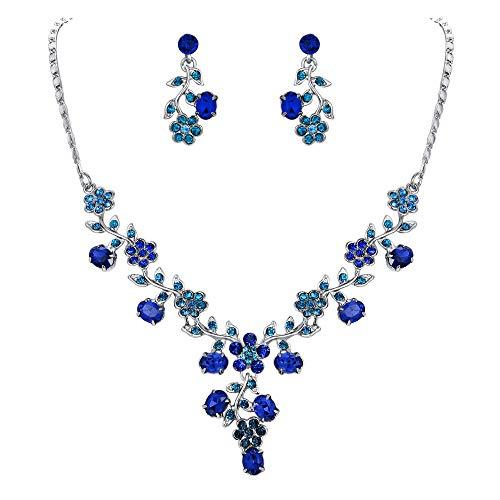 EVER FAITH Flower Leaf Necklace Earrings Set Austrian Crystal Silver-Tone - Blue -