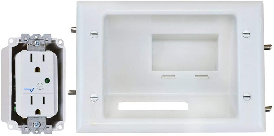 DataComm Electronics 45-0081-WH Recessed AV/HDMI Cable Conceal Plate with Dual Power Surge Suppressor