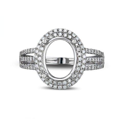 (GOWE 8x10mm Oval 14K White Gold Natural Pave Set Diamond Semi Mount Setting Ring)