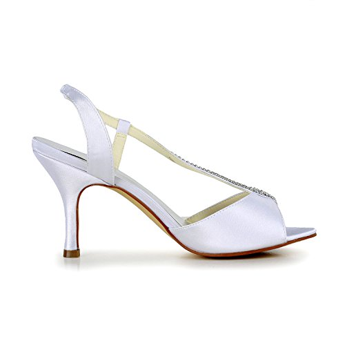 Mariée Satin De Talon Jia Pour 1412 En Mi Mariage Ouvert Chaussures Bout Strass Sandales Blanc Femme BA7q7a4x