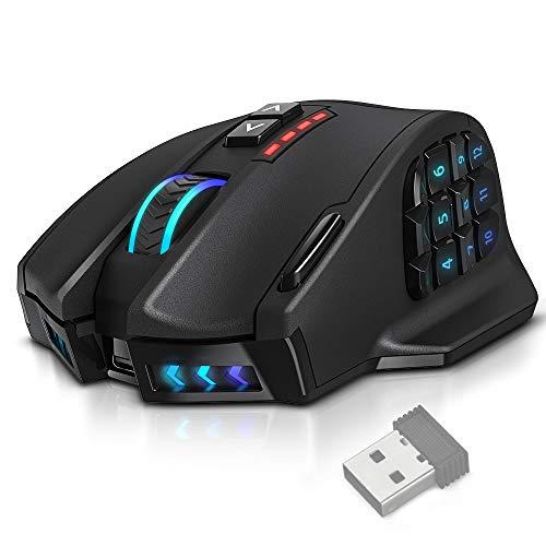UtechSmart VENUS Pro RGB MMO Wireless Gaming Mouse, 16,000 DPI Optical Sensor, 2.4 GHz transmission technology, Palm Grip Ergonomic Design, Chroma RGB Lighting, 16 programmable buttons, Up to 70 Hours