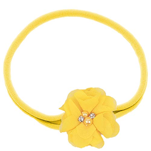 Chiffon Daffodil - Flairs New York Baby Infant Christmas Holiday Flowers Elastic Headbands Hair Band (Golden Yellow Daffodil)